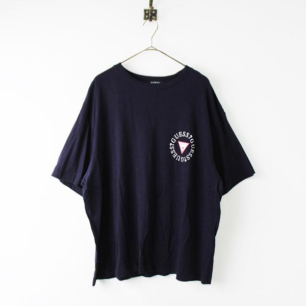 GUESS ゲス バックプリント ロゴ Tシャツ L/ネイビー トップス ワイド コットン メンズ【2400011863874】