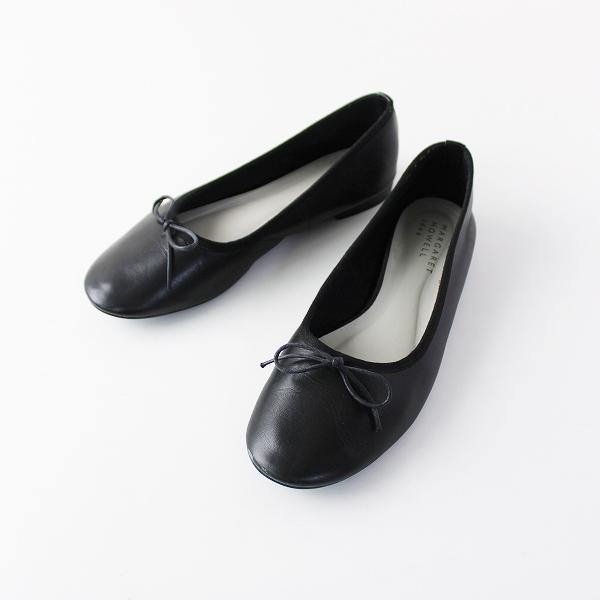 MARGARET HOWELL idea マーガレットハウエル アイデア レザー リボン フラット パンプス 22.5/ブラック 靴 【2400011865694】
