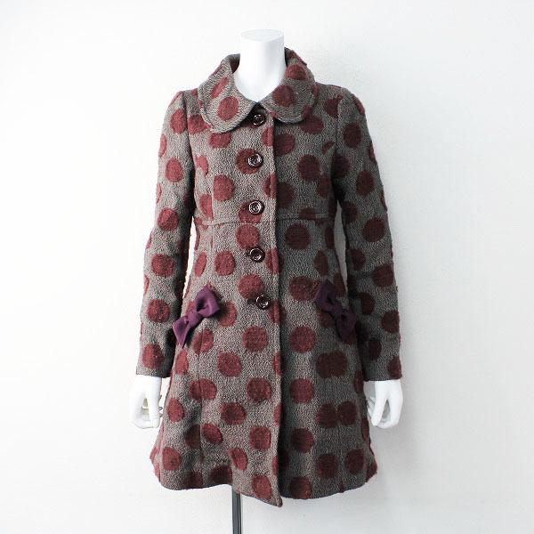 Jane Marple ジェーン マープル ドットジャガードウールコート /ワインレッド系 アウター 羽織り【2400011866189】