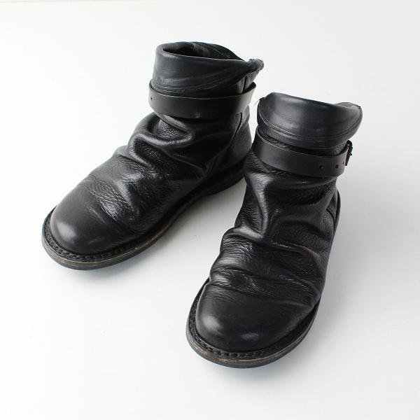 trippen トリッペン BOMB ボム ベルト付き レザーショートブーツ 38/ブラック 靴【2400011866448】