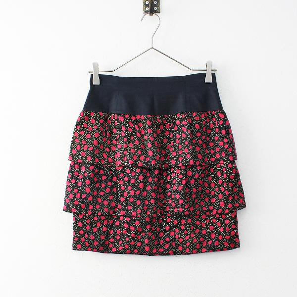 【スプリングセール】CYNTHIA ROWLEY シンシアローリー 総柄 プリント 起毛 ティアードスカート 2/ブラック 花柄【2400011866844】