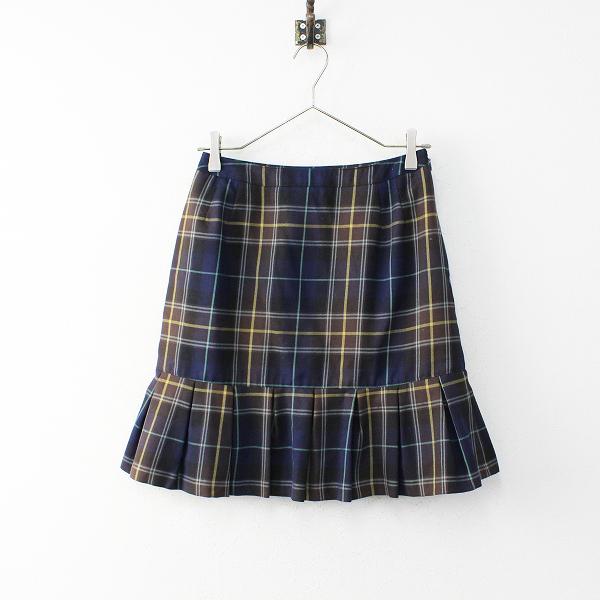 【オータムセール】Yorkland ヨークランド タータンチェック ウール裾フレアスカート 9AR/ネイビー ボトムス【2400011866905】