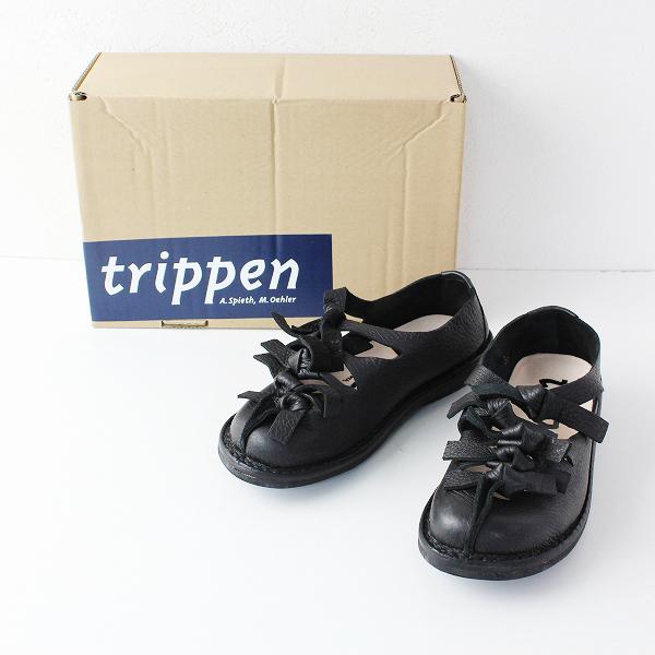 trippen トリッペン Tornado レザー リボン レースアップ シューズ 36/ブラック 鹿革【2400011867360】