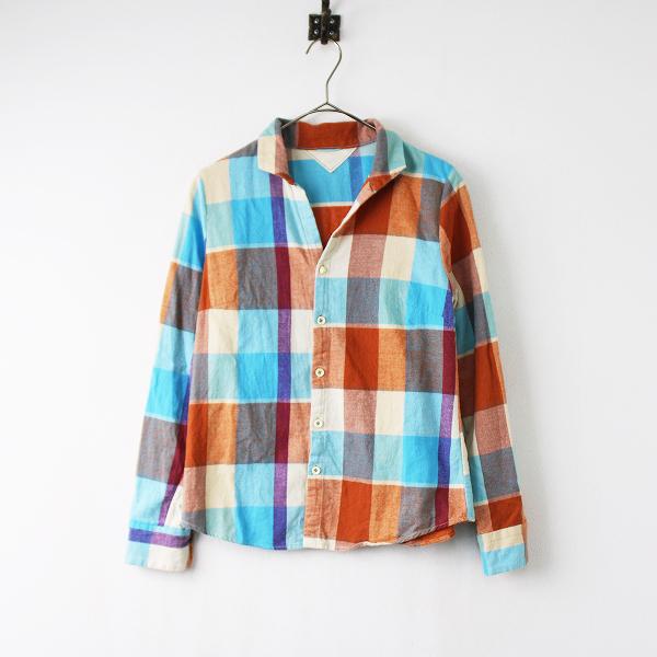 Pal'las Palace パラスパレス コットン マドラスチェック 起毛 シャツ 2/ブルー×オレンジ トップス【2400011869111】