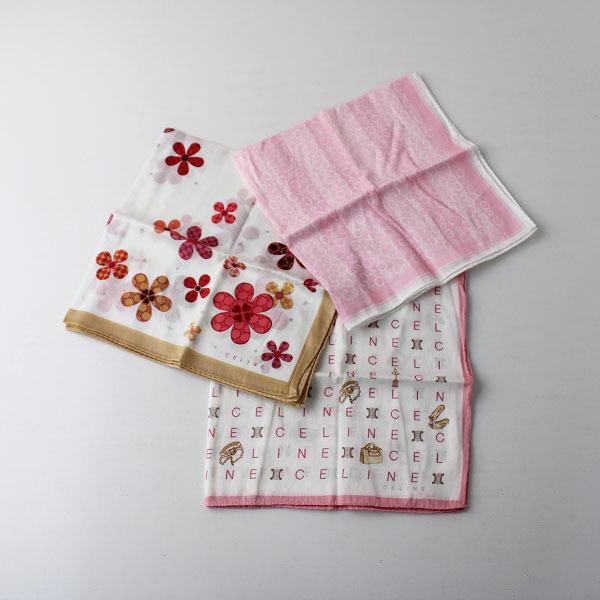 CELINE セリーヌ ハンカチ 3枚セット/ホワイト ピンク まとめ売り 小物【2400011869616】