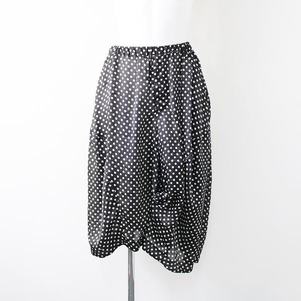 美品 AD2018 BLACK COMME des GARCONS ブラックコムデギャルソン ドット ポリエステル イージー スカート風 パンツ XS/黒【2400011870964】