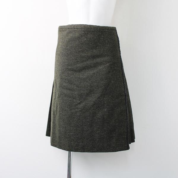 Paul Harnden ポールハーデン Tweed Kilt skirt ツイードキルトスカート S/カーキ ウエストレザーベルト プリーツ【2400011873118】