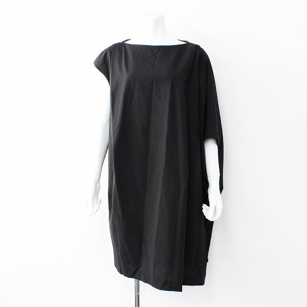 定価3.9万 ENFOLD エンフォルド サマーウールアシンメトリー ボックスワンピース 38/ブラック ドレス【2400011877161】