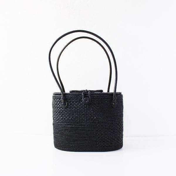 バリ島 細密編み アタバッグ /ブラック ハンドバッグ 手提げ 蓋付き【2400011878762】