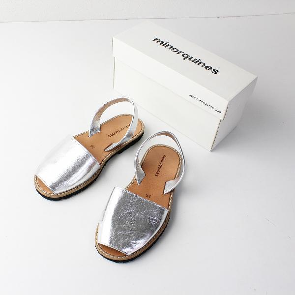 minorquines ミノキネス METAL ARGENT メタリック フラット サンダル 36/シルバー 靴 シューズ【2400011880390】