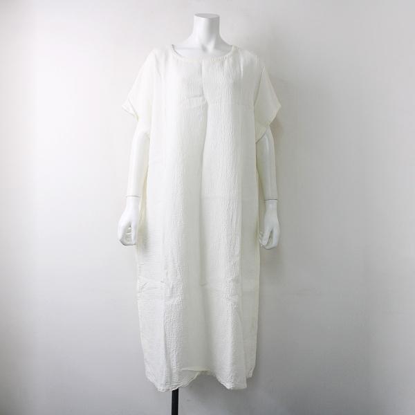 美品 2018SS nest Robe ネストローブ 01182-1012 水撚りリネンフレンチワンピース F/ホワイト【2400011881441】