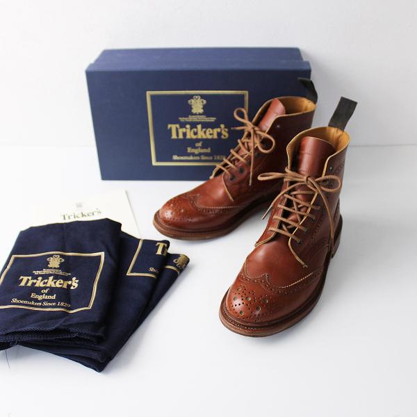 Trickers トリッカーズ レザー L5180 MALTON COUNTRY BOOT カントリー ブーツ 5(23.5)/キャメル ウイングチップ【2400011886521】