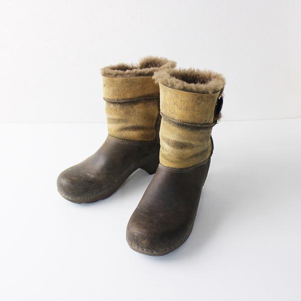 dansko ダンスコ Oiled Leather ファー アンクル ムートン ブーツ S/ブラウン ミドル ヒール ボア シューズ【2400011886538】