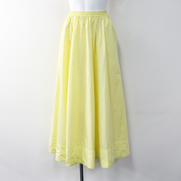 美品 定価2.8万 Ron Herman ロンハーマン Gather Skirt ギンガムチェック ギャザースカート XS/イエロー ボトムス【2400011887450】