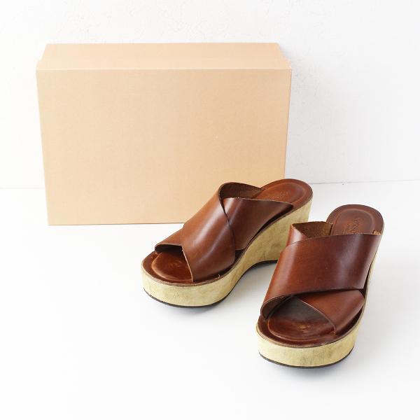 CORSO ROMA,9 コルソローマ ウェッジソール クロスレザー サンダル 37/ブラウン 靴 厚底【2400011887481】
