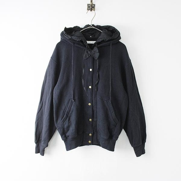KANEKO ISAO カネコイサオ コットン フーディ ブルゾン /ブラック ジャケット リボン ピンタック ピコフリル アウター【2400011889980】