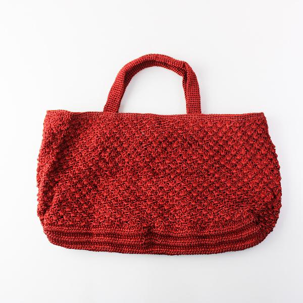美品 定価1.6万 ne Quittez pas ヌキテパ メタリックヤーン トートバッグ/レッド 鞄 【2400011897602】
