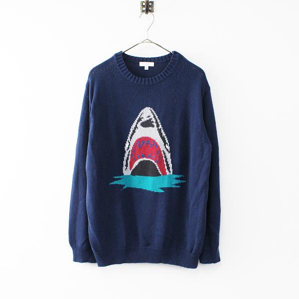 メンズ BEAUTY&YOUTH ビューティアンドユース コットン インターシャ クルーネック ニット XL/ネイビー サメ【2400011898715】