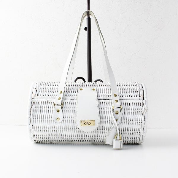 russet ラシット 筒型 かごバッグ/ホワイト 鞄 かばん【2400011899217】