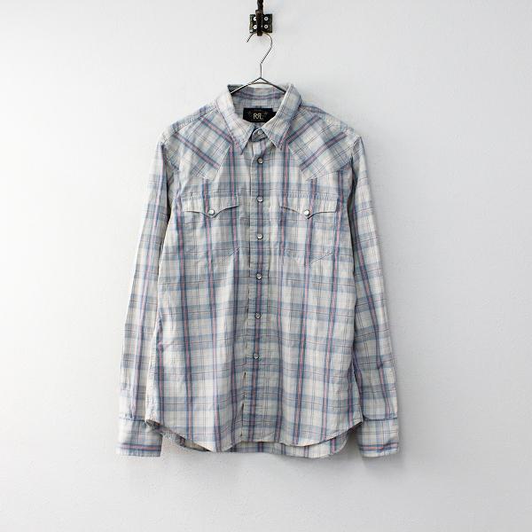メンズ RRL RALPH LAUREN ダブルアールエル ラルフローレン コットン チェックシャツ 4/ブルー トップス【2400011899477】