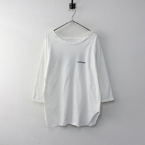 2019SS 定価1.7万 Deuxieme Classe ドゥーズィエムクラス ラグランバックプリントTシャツ/ホワイト トップス【2400011900876】-.