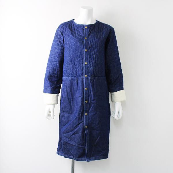 ナチュラン eka:: エーカ 袖ボア デニム ノーカラー コート M/ブルー アウター 上着【2400011902528】