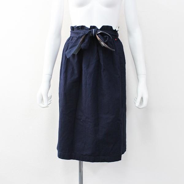 Pal'las Palace パラスパレス コットン ギャザー ウエスト リボン インディゴ スカート 0/ネイビー 藍染め ボトムス【2400011903570】