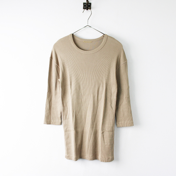 美品 2019SS Deuxieme Classe ドゥーズィエムクラス RIB Tシャツ/ベージュ トップス【2400011904881】-.