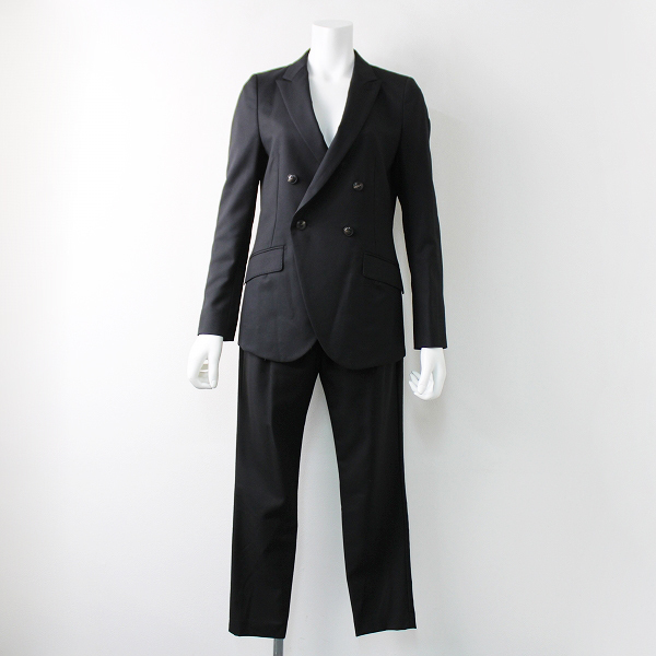 美品 Deuxieme Classe ドゥーズィエムクラス CANONICO カノニコ社製生地 セットアップ スーツ 36/ブラック【2400011905031】