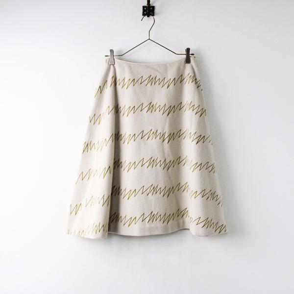【期間限定30%OFF!】美品 定価4.9万 Sally Scott サリースコット Giza Giza 刺繍 スカート 9/ベージュ ボトムス【2400011905871】