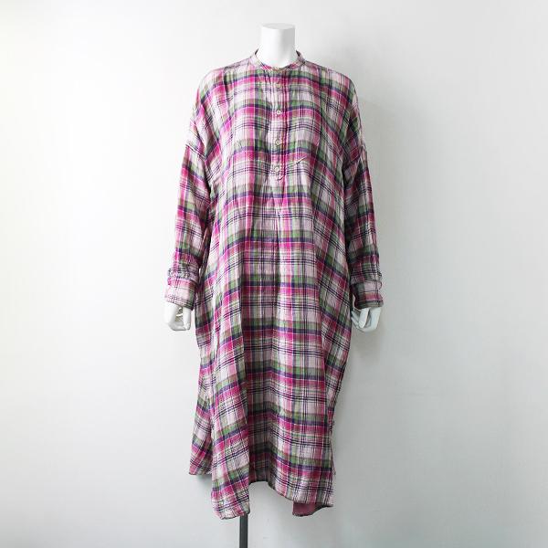 2020SS 定4.8万 45R フォーティーファイブアール 二重織マドラスのビッグシャツドレス0/ピンクチェック ダブルガーゼ素材【2400011906106】