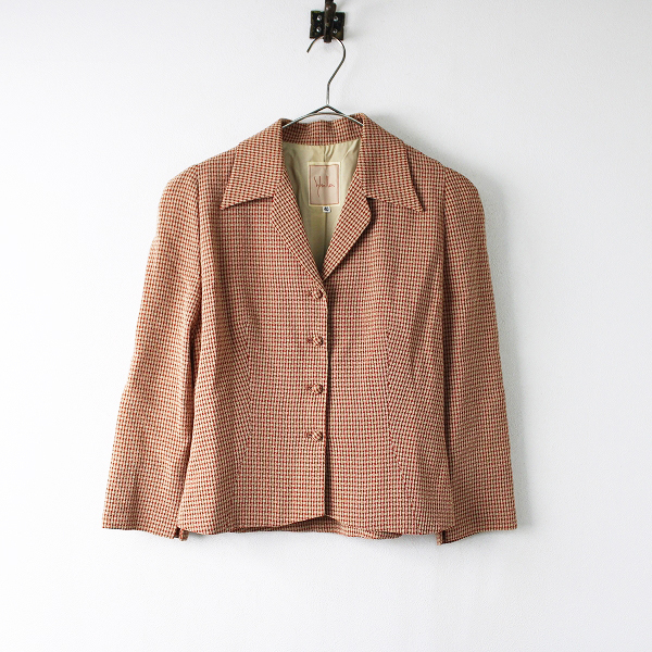 Sybilla シビラ ウール チェック ジャケット 40/レッド テーラード アウター 前開き 羽織り【2400011907769】