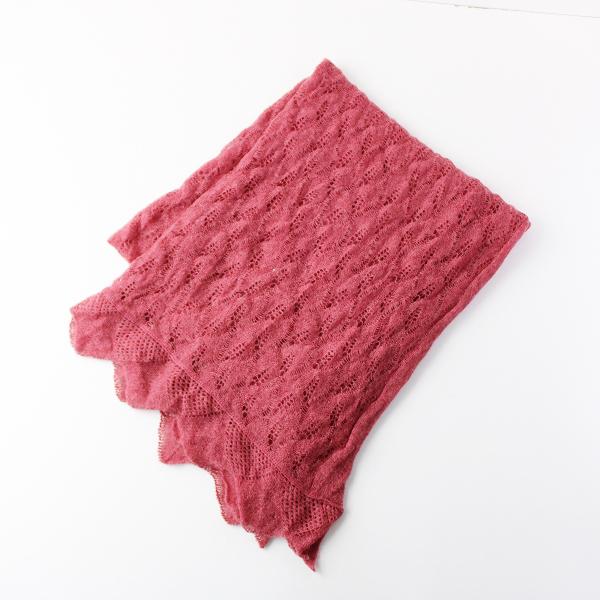 Hug O War ハグオーワー 大判ストール/ガラ透かし編み ショール ピンク 柄編み【2400011907912】