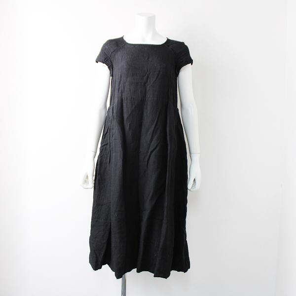 R&D.M.Co- オールドマンズテーラー 裾バルーン リネン ハーフスリーブロングワンピースF/ブラック【2400011909510】