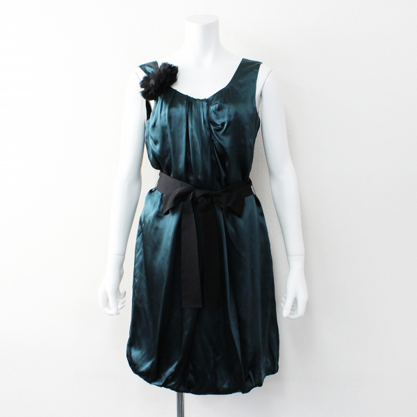 TOMORROWLAND Ballsey トゥモローランド ボールジィ シルク ギャザー リボン ドレス 38/グリーン ワンピース 【2400011910271】