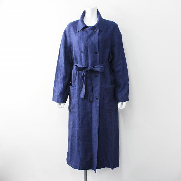 美品 humoresque ユーモレスク リネン trench coat トレンチコート S/ネイビー インディゴ 藍染め アウター【2400011913685】