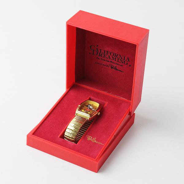 美品 RonHarman ロンハーマン ディズニーコラボ カリフォルニアドリーミング VD78-KW90 ミッキー腕時計 / ゴールド【2400011914255】