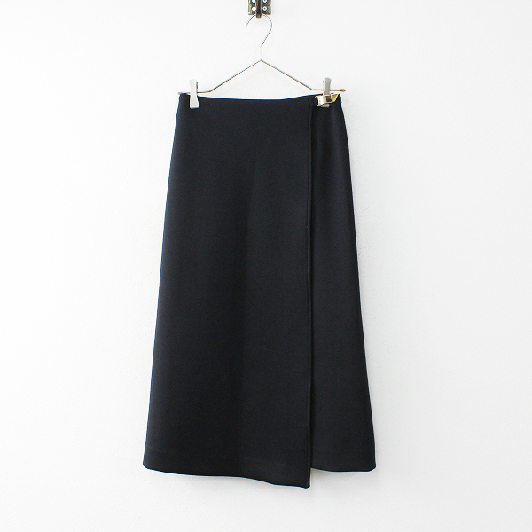 美品 2019 SHIPS for women シップス ダンボールニット ラップロングスカート ONE/ブラック フォーマル【2400011915061】