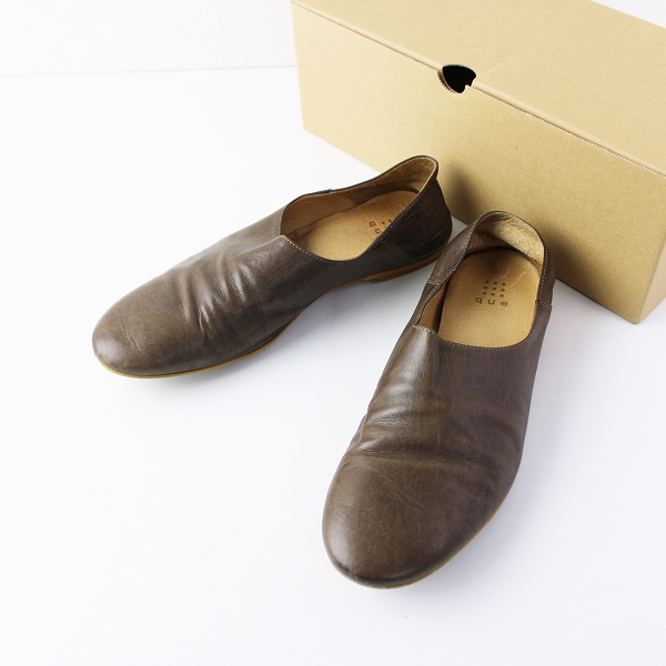 que shoes キュー レザー スリッポン L/ブラウン 靴 シューズ【2400011916488】