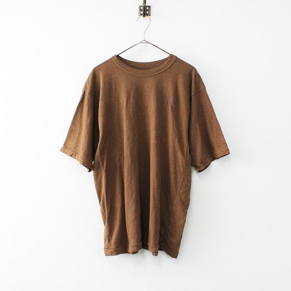 45R フォーティーファイブ ジンバブエコットン ワンポイント刺繍 Tシャツ 4/ブラウン トップス ワイド 45rpm【2400011918826】