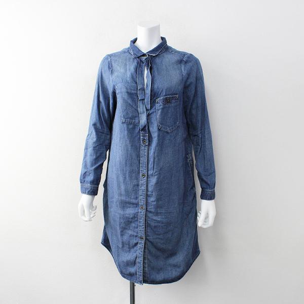 定価2万 Johnbull ジョンブル コットン リネン デニム クラシック シャツ ドレス F/ブルー インディゴ 藍染め ワンピース【2400011919298】