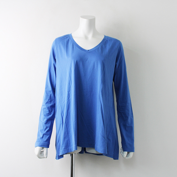 未使用 45R フォーティーファイブ 45rpm コットン Uネック ロングスリーブ フレア カットソー 3/ブルー Tシャツ【2400011920768】