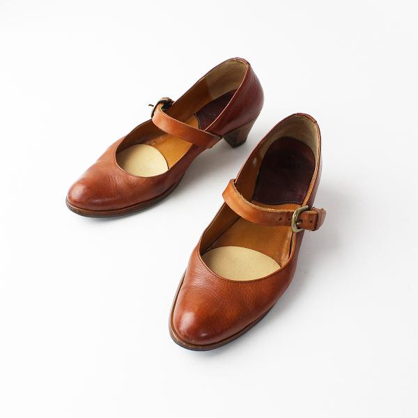 plus by Chausser プリュスバイショセ レザー ストラップ パンプス 23/ブラウン 靴 ローヒール【2400011921369】