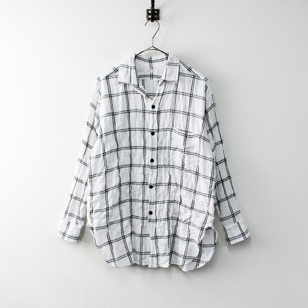 2019SS 定価1.7万 Plage プラージュ check ワッシャーシャツ /ホワイト トップス 羽織り【2400011921901】-.