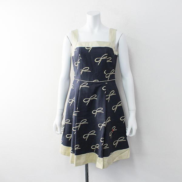 美品 Lois CRAYON ロイスクレヨン コットン リボン 刺繍 ビジュー付き ノースリーブ ワンピース M/ネイビー【2400011922557】