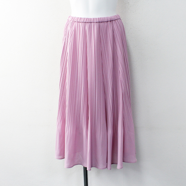 未使用品 大きいサイズ 2020SS 定価1.7万 Rose Tiara ローズティアラ シフォン プリーツ スカート 42/ピンク【2400011923493】