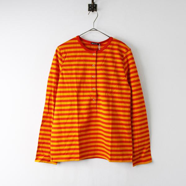 未使用 定価1.7万 marimekko マリメッコ Tasaraita Tove shirt ボーダー ヘンリーネック Tシャツ S/レッド オレンジ【2400011925770】