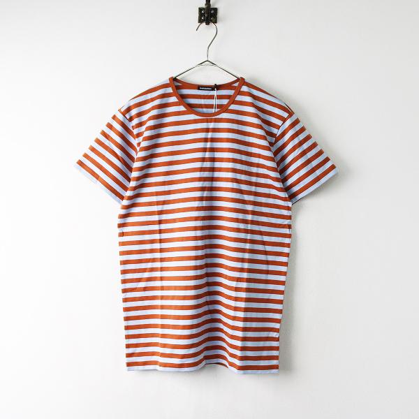 未使用 定価1.1万 marimekko マリメッコ Tasaraita Lyhythiha ボーダー Tシャツ S/ブラウン ブルー【2400011925787】