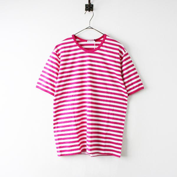 未使用 定価1.1万 marimekko マリメッコ Tasaraita Lyhythiha ボーダー Tシャツ M/フューシャピンク ホワイト【2400011925817】