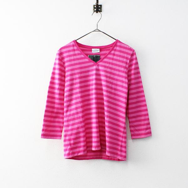 marimekko マリメッコ Vネック ボーダー Tシャツ XS/ピンク カットソー【2400011926333】